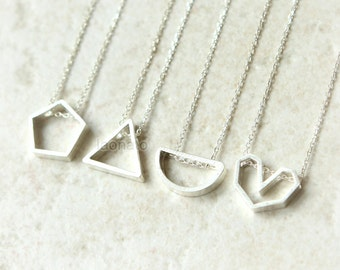 Geometric Line Necklace in 925 sterling silver/ pentagon, triangle, semicircle, heart