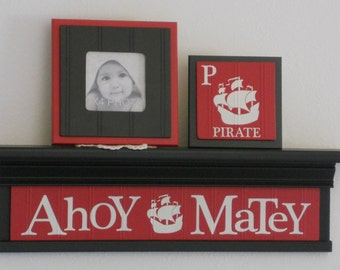 "Red Nursery Sign / Shelf - AHOY (Pirate Ship) MATEY on 24"" Shelf - Pirate Theme Wall Decor - Baby Nursery Decorating Ideas"