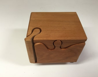 Handcrafted 4 Piece Cherry Wood Puzzle Box with secret inner compartment