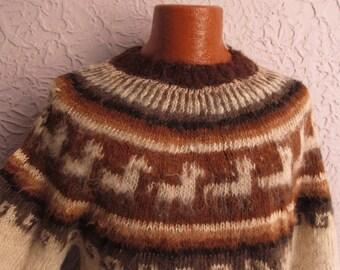 Vintage Men's Peruvian Alpaca Sweater Large