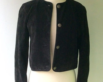 Vintage Black SUEDE with Silver Buttons // Med