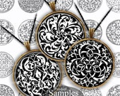 Medieval Black and White 1 One Inch Circles Renaissance Pattern Design for Decoupage Scrapbooking DIY Jewelry Pendants Handles Knobs br 800