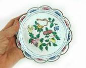 Vintage Chinese cloisonne trinket dish, Chinese white enamel dish, pomegranate cloisonne