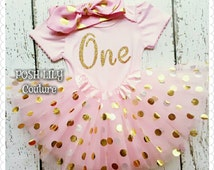 Birthday Girl Outfit,1st birthday pink and gold princess set, one gold glitter top birthday gold polka tutu, pink and gold smash cake outfit