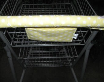 Shopping Cart Cover, Cart Handle Cover, Cart Cover, Shopping Cart Covers, Yellow Polka Dot Print Cart Cover,  Handy Cart Cover