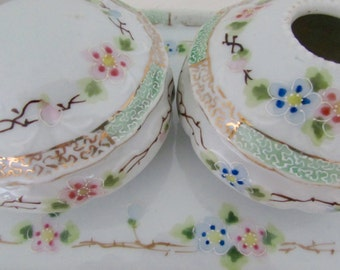 Vintage Porcelain Dresser Boxes Hair Receiver Trinket Box and Tray