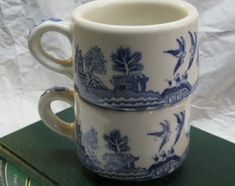 2 Blue Willow Restaurant Coffee Cups Vintage Buffalo Pottery