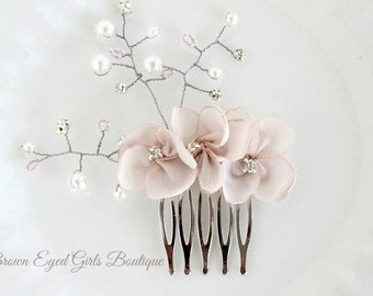 Pearl Bridal Hair Comb, Pearl, Crystal and Rhinestones Wired Bridal Hair Comb