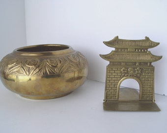 BRASS Bowl & BRASS Pagoda Bookend ~ Vintage Mid Century Brass Decor Planter with Potpourri