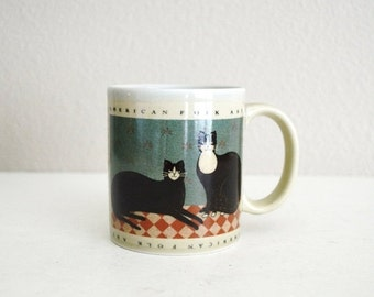 July SALE - 15% Off - Vintage Otagiri Japan Warren Kimble American Folk Art Two Cats Coffee Cup Mug