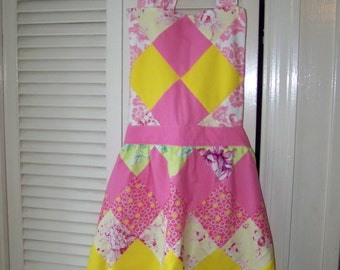 Pink & yellow patchwork apron- nice! Adjustable size