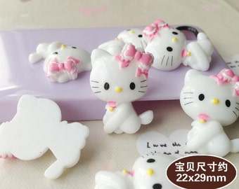 5pcs of resin cat with bow kawaii cabochon 29x22mm flatback white
