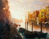 Original Venice Italy oil painting, Impressionist master painting Christopher Clark
