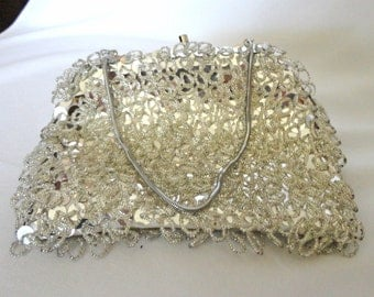 Evening Clutch Bag Silver Sequins and Seed Beads