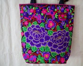 Ethnic Embroidered Flower Bag, Embroidery Pom Pom Bag, Thailand Hmong Bag, Ethnic Shoulder Bag, Hilltribe Tote Handbag