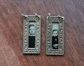 Two Tintype Framed Pendants - Handmade Destash