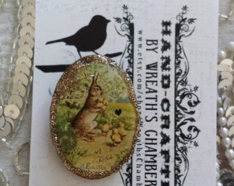 Happy Easter Victorian Rabbit with Chicks Oval-Shaped Polymer Clay Brooch