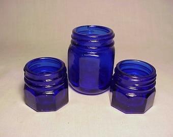Set of Three c1930s Eight Sided Noxema Jars , Cobalt Blue Screw Top Jars