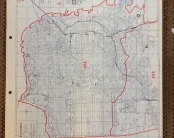 Industrial Decor Map 1980's San Francisco north west huge California vintage