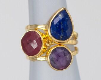 Size 7 Ring- Stackable Stone Ring Set - Stacking Ring - Stackable Rings - Birthstone Ring-  Mothers Rings  - Three Ring Set