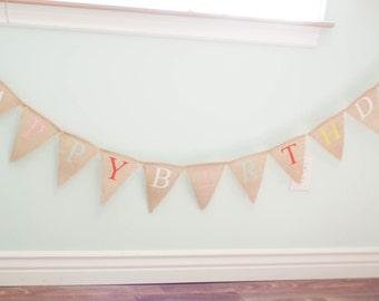 BURPLAP BANNER, party decoration, Happy Birthday burlap pendant banner, Fabric Banner Photography Prop, Birthday Party Decor