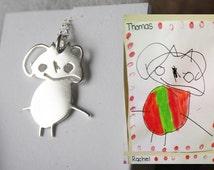 Childs Drawing Pendant, Kids Artwork, Silver childrens drawing, Keepsake necklace, Custom necklace