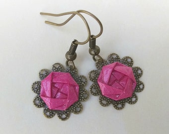 Pink Camellia Lace Earrings
