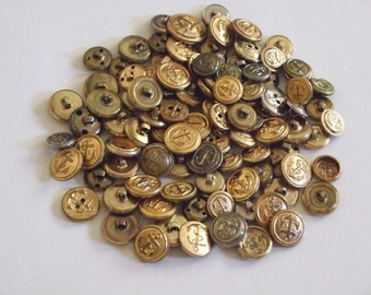 Vintage Anchor Buttons, 100 Shank and Hollow, Brass, Silver Tone