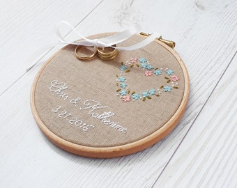shabby chic wedding Ring bearer pillow, Personalized wedding ring holder, Customized ring dish alternative, couple's keepsake, wedding gift