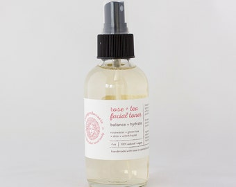 Rose + Tea Facial Toner - Astringent - All-natural - balance - hydrate - rosewater - green tea - aloe - witch hazel