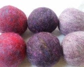 Dryer Balls, set of 6 plummy purples, Free Shipping to USA ( as seen in COUNTRY LIVING magazine)