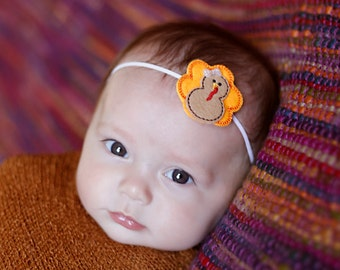 Baby turkey headband - First Thankgiving headband - Turkey headband - First thanksgiving headband - Baby girl fall flower headband