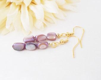 Lilac Earrings, Purple Shell Earrings, Mother of Pearl, Lavender Earrings, Light Purple Earrings, Ecofriendly, Purple Beaded Jewelry