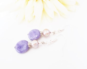 Boho Bridesmaid Light Purple Jewelry Gift for Her, Purple Quartz Earrings, Lilac Pearl Jewelry, Lavender Wedding Earrings, Clip On Earrings