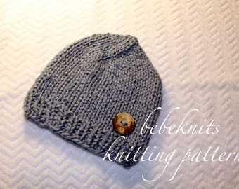 Bebeknits Organic Cotton/ Bulky Yarn Baby Hat Knitting Pattern