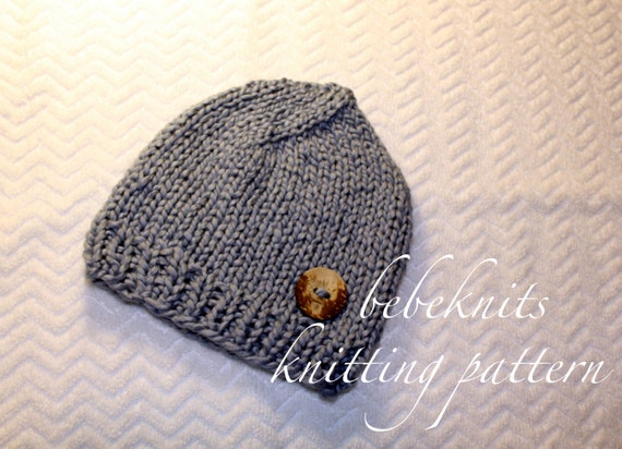Bebeknits Organic Cotton/ Bulky Yarn Baby Hat Knitting Pattern