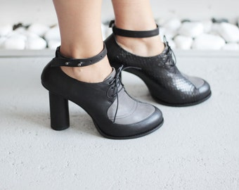 CLARA - Gray&Black - FREE SHIPPING Handmade Leather Shoes with winter sale price