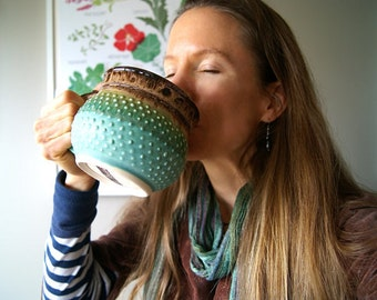 MADE TO ORDER...One 20 oz. Handmade Pottery Coffee Mug, Round and Dotty, Cerulean Green and Mocha Cream Glazes