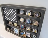 Military Challenge Coin Display Rack Holder Collector - USA Flag - Gift for Veterans - Army, Navy, Air Force, Marines Retired Reserves