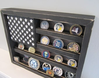 Military Challenge Coin Display Rack Holder Collector - USA Flag - Gift for Veterans Army Navy Air Force Marines Coast Guard Retirement