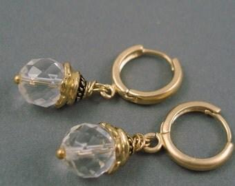 Rock Crystal Quartz Earrings on Matte Gold Plated Hoop Wires Handmade