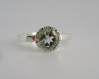 Green Amethyst Prasiolite  argentium sterling silver ring by theresa pytell Ready to Ship size 7