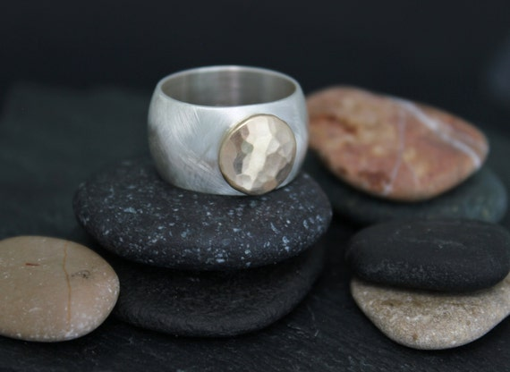 Silver and Gold Button Ring, Sterling Silver and 14k Yellow Gold, 12mm Wide Band, Eco Friendly Ring, Ready to Ship Size 8 and 9