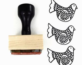 Rubber Stamp Folk Art Bird - Springtime Hand Drawn Design