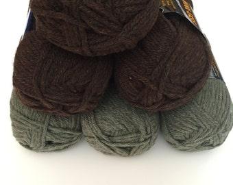 Earth Tones Chunky Yarn, Lion Brand Wool Ease Chunky Yarn DeStash - 6 Skeins
