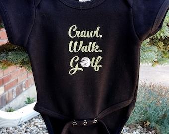 Crawl Walk Golf Baby Onesie, Golf Baby, Custom Baby Clothing, Personalized Baby, Black Onesie, Newborn, Unique Baby Onesie, Boy, Cotton,