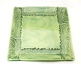 Square Ceramic Plate with Textured Edge in Light Green, Celadon