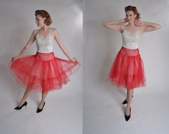 Vintage 1950s Anne Fogarty Crinoline -Red Tulle Petticoat - Wedding Lingerie Size S