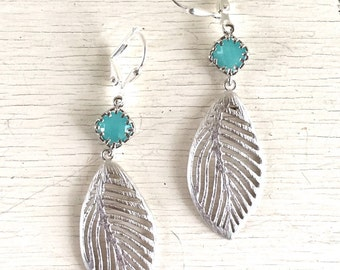 Silver Leaf and Turquoise Jewel Dangle Earrings. Turquoise Jewelry.!Drop Earrings.  Leaf Earrings.  Jewelry Gift. Modern Earrings.