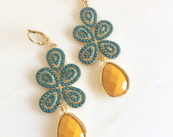 Mustard Yellow and Turquoise Statement Earrings in Gold.  Bold Statement Earrings. Long Dangle Earrings. Jewelry Gift.